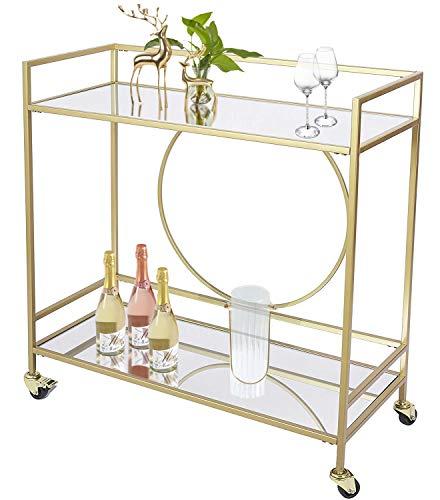 UMI. by Amazon Servierwagen barwagenmit 2 verspiegelten Regalen, küchenwagen auf rollen Weinwagen für Küche, Club, Wohnzimmer(36x15x38inch gold)