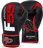 Starpro F55 Guantes de Boxeo de Cuero sintético Premium Cronos para Entrenamiento, Sparring, Muay Thai, Kickboxing, Fitness, Boxeo - Hombres y Mujeres - Blanco y Negro - 8 oz 10 oz 12 oz 14 oz 16 oz