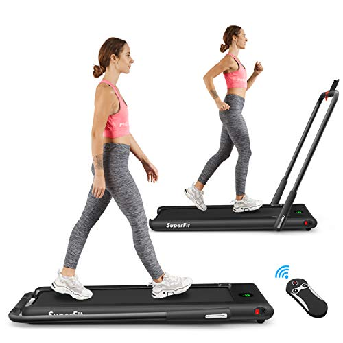 Goplus 2 in 1 Folding Treadmill, 2.25HP Under Desk Electric Treadmill, Installation-Free, with Remote Control, Bluetooth Speaker and LED Display, Walking Jogging Machine for Home/Office Use (Black) by Superbuy