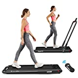 Goplus 2 in 1 Folding Treadmill, 2.25HP Under Desk Electric Treadmill, Installation-Free, with Remote Control, Bluetooth Speaker and LED Display, Walking Jogging Machine for Home/Office Use (Black)