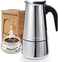 Godmorn Cafetera Italiana, Cafetera espressos en Acero inoxidable430, 4/6/10 Tazas,Conveniente para la Cocina de...