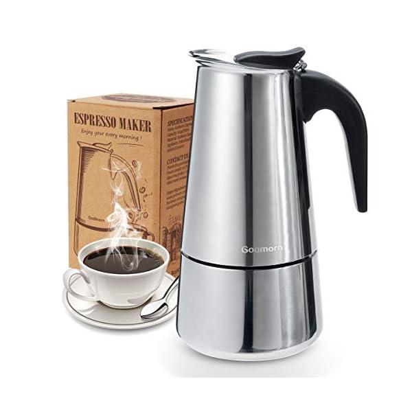 Godmorn Cafetera Italiana, Cafetera espressos en Acero inoxidable430, 10tazas(450ml),Conveniente