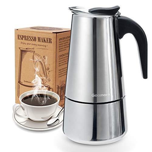 Godmorn Cafetera Italiana, Cafetera espressos en Acero inoxidable430, 10tazas(450ml),Conveniente para la Cocina de inducción,Cafetera Moka Clásica, Plata, Uso Doméstico y en la Oficina.