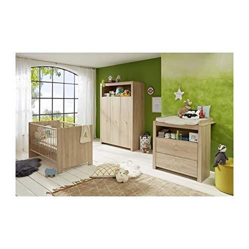 OLIVIA SONOMA Chambre bébé complete : lit 70*140cm + commode + armoire - Chene naturel