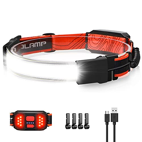 LED Headlamp Flashlight, 1000lumens 230° Broadbeam Headlight, USB Rechargeable Head Lamp with Red Taillight, Lightweight Waterproof Headlamps for Camping Running Hiking, Hard Hat Headlamp