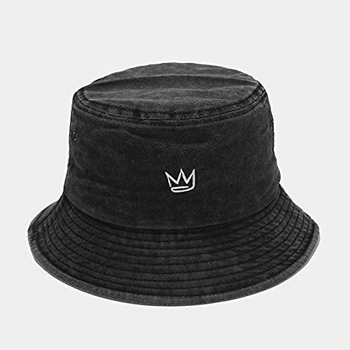 YUHOOE Bordado Sombrero De Pescador Moda Corona Sombreros De Cubo De Mezclilla Lavados Gorras Unisex Hip Hop Sombrero para El Sol Hombres Mujeres Panamá Gorra De Cubo Sombreros De Bush,Negro,56,58Cm