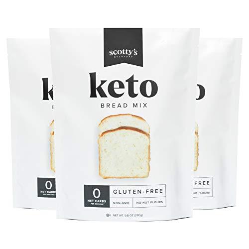 Keto Bread Zero Carb Mix - Keto and Gluten Free Bread Baking Mix - 0g Net Carbs Per Serving - Easy to Bake - No Nut Flours - Sugar Free, Non-GMO, Kosher Bread (3 Pack)