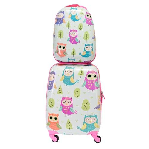 BONTOUR Juego de 2 maletas infantiles, mochila y maleta de viaje para niños.
