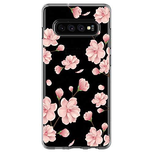 Jeack Kompatibel Mit Samsung Galaxy S10 Hülle Transparent Silikon Handyhülle Ultra Dünn Silikon Protection Farbe Blumen Muster Fit Samsung Galaxy S10 Hülle (8)