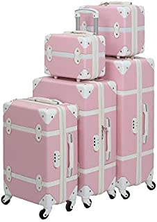 Murano Luggage Trolley Bags Set, 5 Pcs, Pink and White - 5-665502