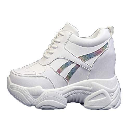 Zapatos Casuales de cuña para Mujer Zapatillas con Cordones Impermeables con Punta Redonda y Plataforma Zapatillas cómodas para Caminar Antideslizantes para Mujer