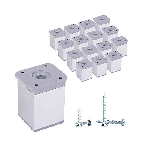 Juego de 16 patas de aluminio de 6 cm de altura ajustable para muebles de perfil angular: 40 x 40 mm, materiales: aluminio, plástico, tornillos incluidos (16, aluminio)