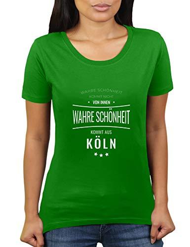 KaterLikoli - Camiseta de manga corta para mujer, diseño de Colonia con texto en alemán Verde manzana XL