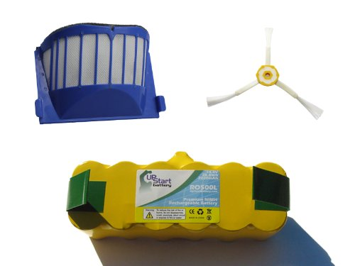 Replacement for Roomba 595 Pet Series Battery, Filter and Side Brush - Kit Includes 1 Battery, 1 AeroVac Filter and 1 3-Arm Side Brush