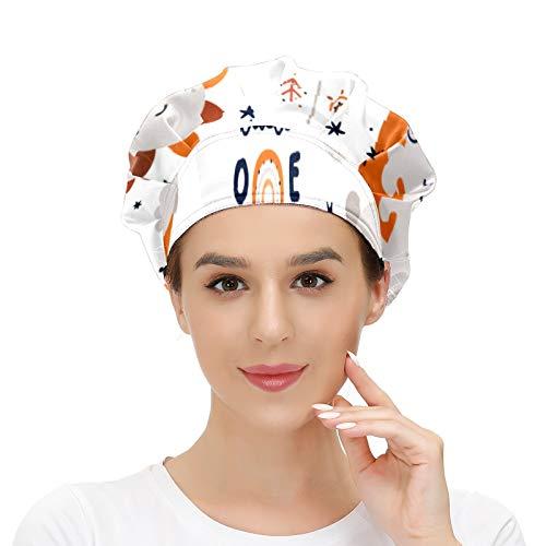 Gorro de trabajo para el pelo largo con banda elástica ajustable para el sudor, gorro de trabajo para hombres, bufanda de cabeza impresa en 3D, bonito juego infantil con bebé animal