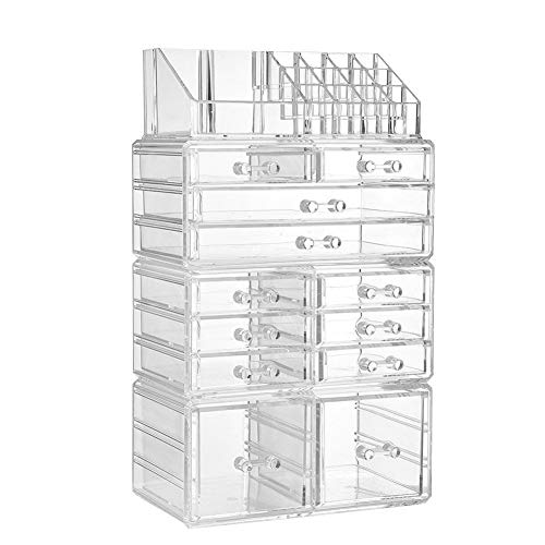 ZPPZ Caja acrílica Estante de maquillajes, Organizador Maquillaje Acrilico Organizadores Cosméticos Transparente Múltiples Funciones Almacenamiento para Guardar Esmalte Uñas Pintalabios Transparent