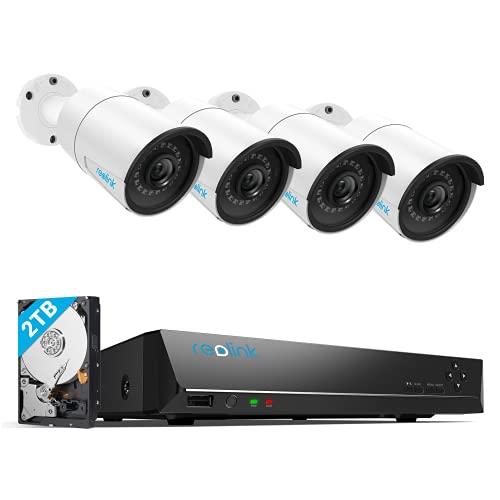 Reolink 4K NVR 5MP PoE Kit de Cámara Vigilancia, 4pcs 5MP PoE Cámara IP Exterior y 8CH 2TB HDD NVR para Grabación Continua, Impermeable IR Visión Nocturna Acceso Remoto Audio, RLK8-410B4