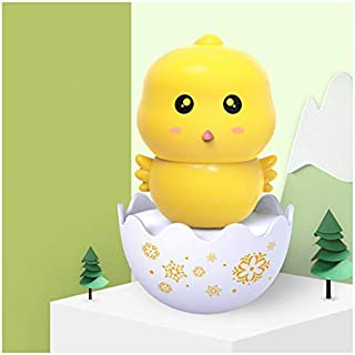 Baby Chick Tumbler Toy Silicone Teether Chick Toddler Wobbler Chime Bell