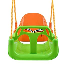 dissylove Baby/Toddler/Childs Garden Swing Seat, 3-in-1 High Backed Toddler Swing Detachable Outdoor Toddlers Children Hanging Seat Toy Robust Rocking Board with Rope
