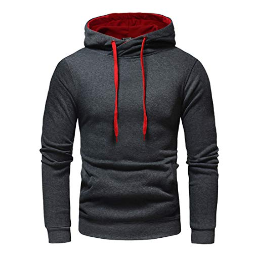 Hoodie Herren Sweatshirt Herren Casual All-Match Sportstil Herren Sweatshirt Herbst Neues Baumwollmischung Slim Soft Kordelzug Herren Sweatshirt Herren Streetwear B-Dark Gray XXL