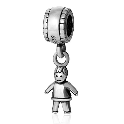 SoulBead Little Boy&girl Authentic 925 Sterling Silver Charm Beads (Boy) by Fits Pandora charms bracelet