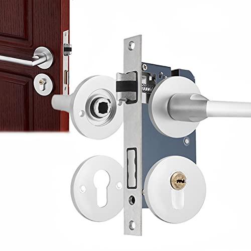Cerradura de puerta, Espacio Aluminio Interior Seguridad Dormitorio Sala Estar Puerta Madera Cerradura Silenciosa para Puerta Delantera, Pasaje, Baño