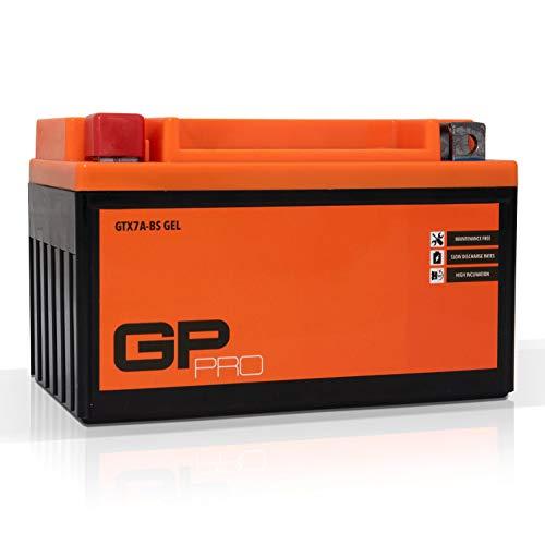 GP-PRO GTX7A-BS - Batería de arranque para scooter y motos, 12V, 7Ah, parecido a YTX7A-BS / 50615, sin necesidad de mantenimiento