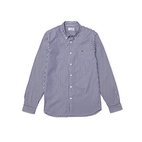 Lacoste CH2936 Camicia Elegante, Bianca/Marine, XXL Uomo