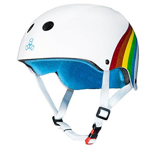 Triple Eight THE Certified Sweatsaver Helmet for Skateboarding BMX and Roller Skating Rainbow Sparkle Small / Medium