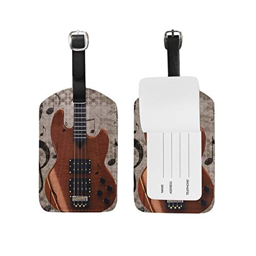 Music Guitar Luggage Tag for Baggage Suitcase Bag Leather 1 Piece