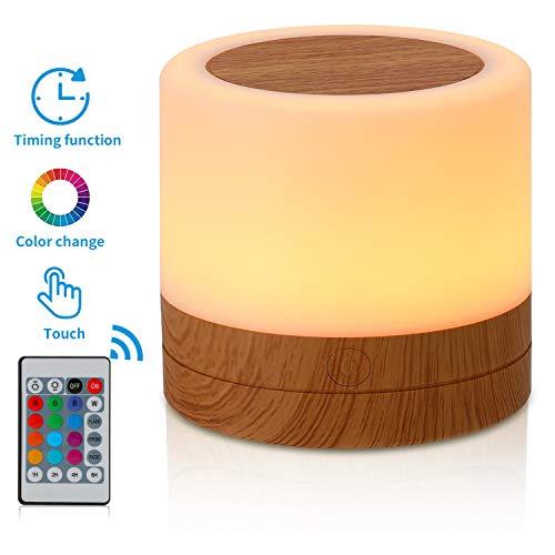 TAIPOW Mini Nachttischlampe, Kinder Nachtlicht/Fernbedienung Tischlampe/Dimmbar Farbwechsel Nachtlampe mit USB Aufladung Touch-Bedienung für Schlafzimmer/Kinderzimmer/Geburtstagsgeschenk (Weiß)