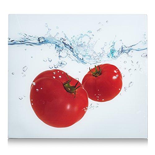 Zeller Herdblende-/Abdeckplatte Tomato Splash, Glas, 56x50x2 cm, 26307
