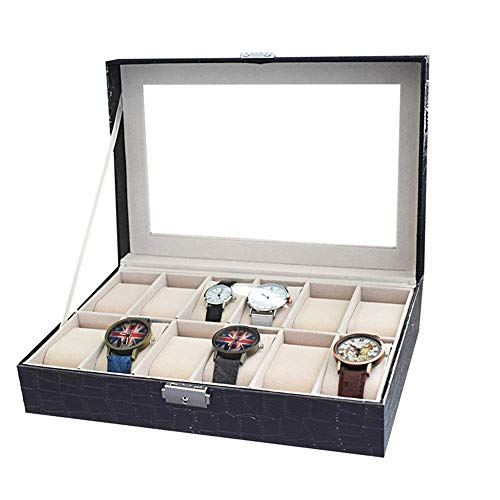 Suytan Cajas de Alenamiento de Relojes 12 Ranuras Reloj de Cuero de Pu Cajas de Alenamiento de Exhibición de Joyas Caja de Reloj Estuche de Reloj Elegante con Tapa de Vidrio,Negro,Los 30.5X20.5X8Cm