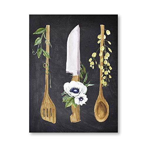 Cartel cartel en la cocina impresión de pizarra vajilla de acuarela cuchara de cocina antigua regalo de inauguración lienzo pintura hogar sin marco pintura decorativa de lienzo A220 50x70cm