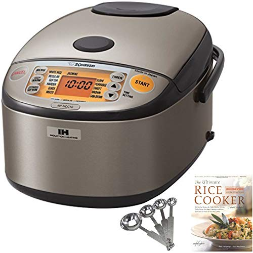Zojirushi NP-HCC10XH Induction Heating System Rice Cooker and Warmer, 1 L, Stainless Dark Gray PLUS Measuring Spoons and Cookbook