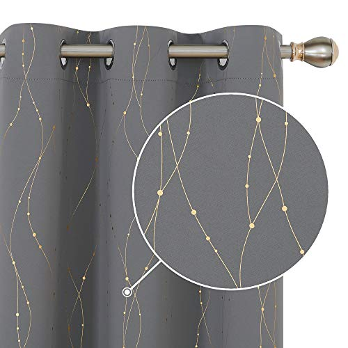 Deconovo Grommet Top Blackout Curtains Curtains with Golden Wave Line and Dots Pattern Thermal Insulated Curtains Window for Dining Room 42W x 72L Inch Grey Set of 2
