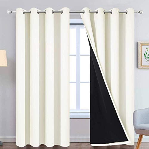 Yakamok 100% Cream Blackout Curtains for Bedroom, Light Blocking Thermal Insulated Noise Reducing Blackout Drapes for Living Room(52Wx84L, 2 Panels)