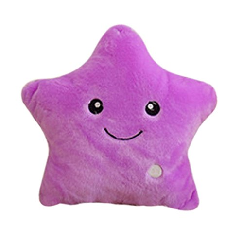 Bunte LED Leucht Sterne Plüsch Kind Spielzeug Geschenk Kissen Dekokissen - Lila, 95cm