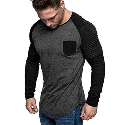Xmiral Herren Sweatshirt Top Herbst Langarm Plaid T-Shirt Hemd Einfarbig Rundhals Spleißen Langarm Shirt Mode Langarm Bluse Tops(Dunkelgrau,XXL)