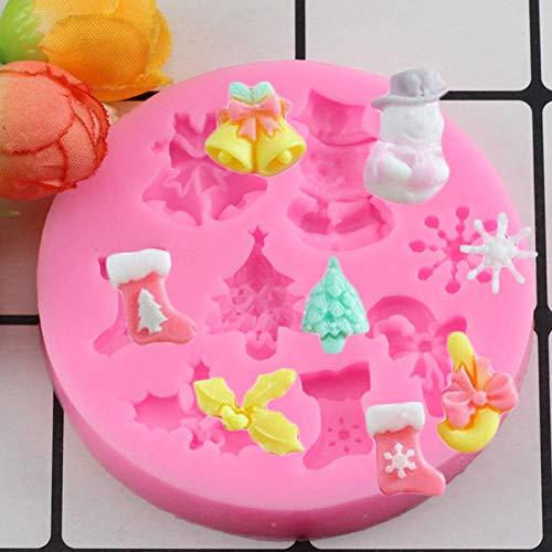 YTYASO Christmas Series Tree Deer Bell Snowflake Fondant Silicone Mold Cake Decorating Bakeware Chocolate Mold