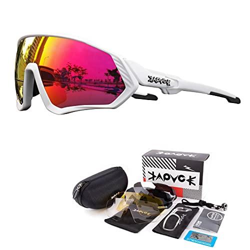 KAPVOE Gafas de Ciclismo Polarizadas con 5 Lentes Intercambiables para Hombres Mujeres Pantalla Completa TR90 Gafas de Sol Ligeras para Ciclismo Deportivo MTB 08
