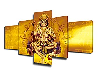 Indian Painting Hindu God Hanuman Idol Pictures on Canvas 5 Piece Wall Art Modern Artwork Home Decorations for Living Room Giclee Wooden Framed Gallery-wrapped Stretched Ready to Hang 50  Wx24  H