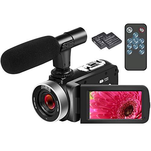 Videocamera HD 1080P 25FPS Videocamera Digitale per Vlogging Videocamere Autoscatto 24.0MP con Microfono Telecomando e Funzione Webcam
