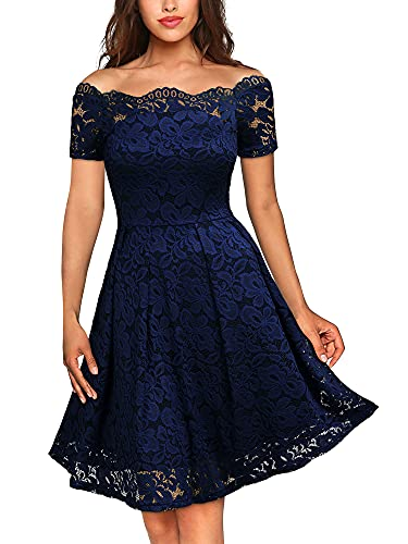 MISSMAY Women's Vintage Floral Lace Short Sleeve Boat Neck Cocktail Party Swing Dress, Large, Navy Blue