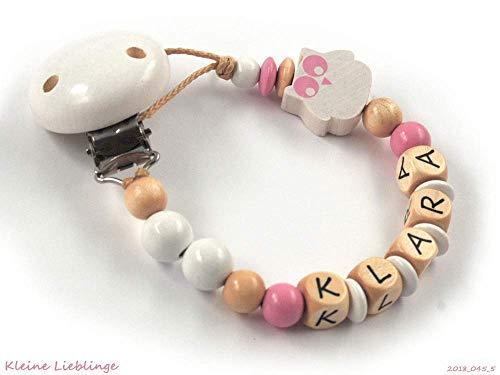 Schnullerkette mit Namen Mädchen Eule - Baby Geburt Taufe - weiß rosa (altrosa) natur - Holz geprägte Holzbuchstaben Made in Germany Geburtsgeschenk personalisierbar - bis zu 8 Buchstaben möglich