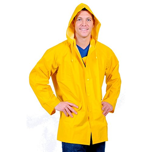 Galeton 7960-S-YW Repel Rainwear 0.35mm PVC/Polyester Rain Jacket with Detachable Hood, Vinyl, Small, Yellow