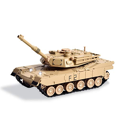 M1A2 Abrams Main Battle Tank - Die-cast Alloy Military Vehicle 1:48 Scale Model - Electronic Toy with Light and Sound, 5.9 Inches