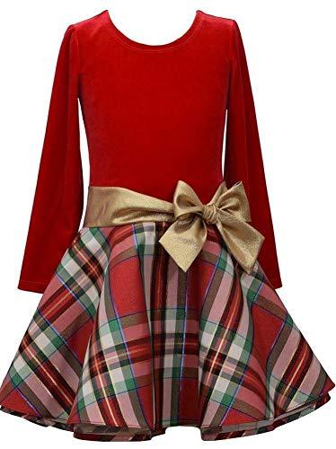 Bonnie Jean Stretch Velvet to Glitter Flock Drop Waist Holiday Girls Dress (12, Red/Gold)