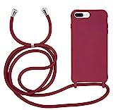 MyGadget Funda con Cordón para Apple iPhone 6 Plus / 6s Plus / 7 Plus / 8 Plus - Carcasa Cuerda Silicona TPU Case Correa para Llevar en el Cuello Bordeaux
