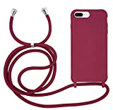 MyGadget Funda con Cuerda para Apple iPhone 6 Plus / 6s Plus / 7 Plus / 8 Plus - Carcasa Transparente en Silicona TPU Cordón Case y Correa Colgante Bordeaux